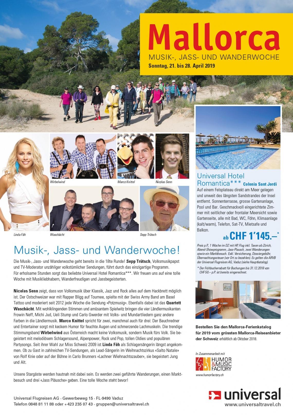 Musik-, Jass- & Wanderwoche mit Sepp Trütsch, Linda Fäh u.v.m., Hotel Romantica (Sonntag, 21.04.2019 bis Samstag, 27.04.2019)
